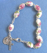 Genuine Oval Bead Chinese Porcelain Rosary Bracelet