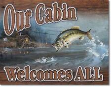 Angelsport Angler Willkommen USA Outdoor Fishing Metall Deko Plakat Schild