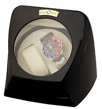 Diplomat Black Wood Double Dual Automatic Watch Winder Case Cream Interior NEW
