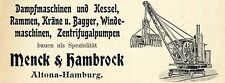 Menck & Hambrock Hamburg DAMPFMASCHINEN u. KRÄNE Historische Reklame von 1905