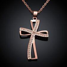 Collar Cadena Collar Cruz Colgante Circonia Oro Rojo Chapado IDEA DE REGALO