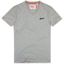 Magliette da uomo grigie Superdry con scollo a v