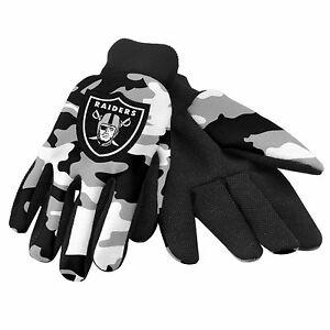 Oakland Raiders Camo Camouflage Team Logo Licensed NFL Sport Utility Gloves-New!