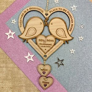 Personalised Wedding Gift Love Birds Engagement Wooden Mr & Mrs Keepsake Present