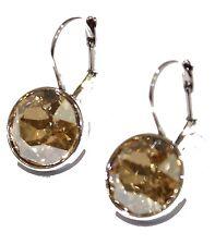 Swarovski Elements Champagne Bella Earrings SilvePlated Dangle Leverback Earring