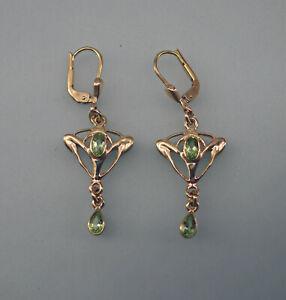 9906035-ds 925er Silber vergoldet Jugendstil Ohrringe mit Peridot