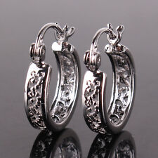 attractive charm cheerful hoop earring Cute Fashion 18k white gold filled
