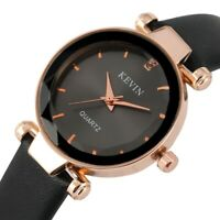 Casual Women's Quartz Watch Crystal Dial Leather Band Strap Stainless Steel Case