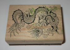 """Dragon Rubber Stamp Fire Breathing Mythical Midievil Fantasy Wood Mounted 2.75"""""""