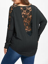 Plus Size Women Floral Lace Insert Sheer Long Sleeve Tops Sexy Open Back Blouse