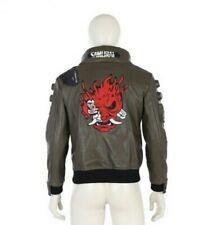 Cyberpunk 2077 Brown Faux Leather Halloween Cosplay Costume Jacket XS-5XL Custom