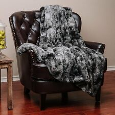 BEAUTIFUL ULTRA SUPER SOFT LUXURY PLUSH WARM & COZY FAUX FUR GRAY THROW BLANKET