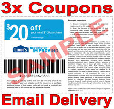 3× Lowes $20 OFF $100 FAST DELIVERY DISCOUNT-3COUPON INSTORE ONLY 𝐄𝐗𝐏 𝟕/𝟏𝟓