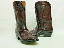 Lucchese L6608 Red Black Cherry Goat Leather Cowboy Western Boots Men Size 13 3E