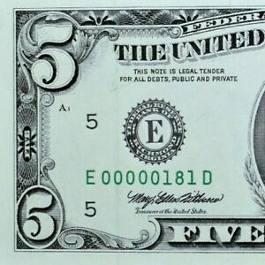 1995 $5 FEDERAL RESERVE NOTE ✪ LOW SERIAL NUMBER ✪ 3 DIGIT 00000181 UNC◢TRUSTED◣