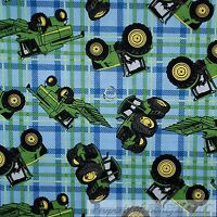 BonEful Fabric FQ Cotton Quilt Green Blue Plaid John Deere Farm Tractor Truck US