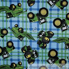 BonEful Fabric FQ Cotton Quilt Green Blue Plaid John Deere Farm Tractor Truck US