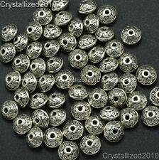 Vintage Patterned Tibetan Silver Bicone Connector Spacer Loose Bead Carved Metal