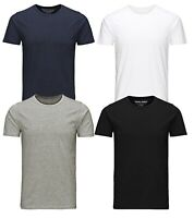 Jack & Jones New Mens Crew Neck Slim Fit T-shirt Stretchy Plain Cotton Tee
