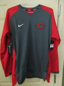 Cincinnati Reds MLB Authentic Nike Baseball Dri Fit LS Pullover Sweatshirt  L