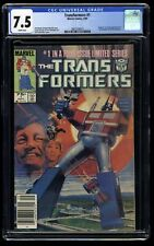 Transformers #1 CGC VF- 7.5 White Pages Newsstand Variant