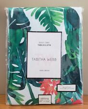 Tabitha Webb 60x104 Tablecloth Tropical Floral & Leaf Print Coral Green NIP