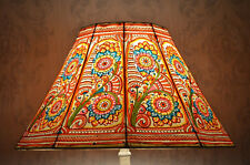 Large Floor Lampshade in Multi-Colour Floral Design | Handmade Leather Lampshade