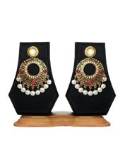 Bollywood Indian Traditional Ethnic Jhumka Jumki Maroon Meena Kundan Earring