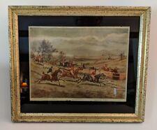 Borghese Hunt Scene Reverse  Glass - Gilt Frame-Hunt Country Elegance