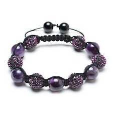 Purple Pave Crystal Ball Amethyst Beads Shamballa Bracelet Black Cord