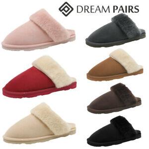 DREAM PAIRS Women Sheepskin Warm Faux Fur Lined Slip on Comfort House Slippers