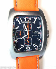 LOCMAN SPORT CHRONOGRAPH WATCH Model 487 BLUE w/Orange Strap, NEW
