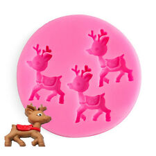XMAS Cute Deer Silicone Baking Mould Cake Chocolate Soap Candle Mold Craft DIY