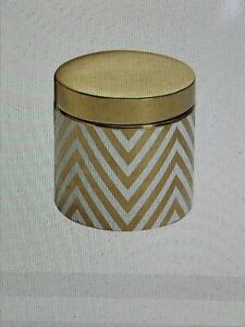 POTERY BARN Gold Ivory Chevron Canister Small
