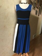 FRENCH CONNECTION Fit & Flare Blue/Black/White Sleeveless Dress Size 8