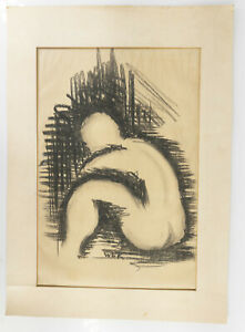 Antique Vintage Mid Century Charcoal Abstract Drawing W.E. Kennick 1945