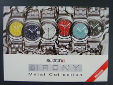 Swatch Watch Irony Metal Collection Swiss Color Promo Advertising Postcard