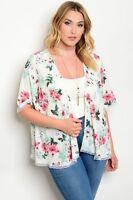 Women Plus Size Ivory Floral Kimono Top Blouse Shirt Lace Casual Boho Cardigan