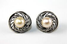 South Sea Pearl & Diamond Spiral Stud Black Earrings 14k White Gold 10mm 1.35Ct