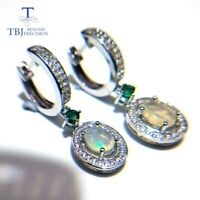 925 sterling silver natural gemstone Clasp Earrings with Opal and Green emerald