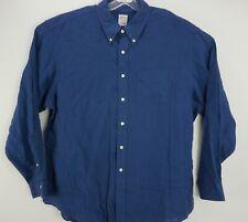 Brooks Brothers Men's 2XL Long Sleeve Dark Blue 100% Linen Button Down Shirt