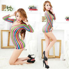 Sexy Rainbow Bodystocking Dress Lingerie Cute Japanese Reggae Porn Dancer Outfit