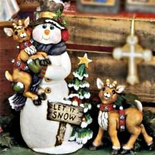 CERAMIC BISQUE CHRISTMAS 'LET IT SNOW' FROSTY THE SNOWMAN & DEER~U PAINT