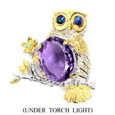 Handmade Oval Amethyst 16.80ct Black Opal Gems 925 Sterling Silver Owl Brooch