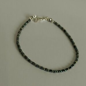Solid 925 Sterling Silver Hematite and Sterling Silver Spacer Bracelet