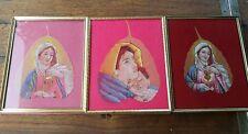 3 Banyan Peepal Leaf Paintings Miniature Madonna & Jesus Wall Decor Art Drawing
