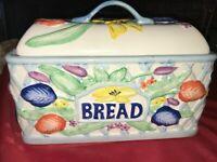 "Vintage ROYAL NORFOLK Ceramic Bread Box 3D Flower 13"" Long x 6½"" Wide x 10"" Tall"