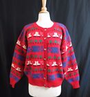 "Vintage 90s ROBERT SCOTT Red iceskate ""Ugly"" Xmas Sweater cardi 100% wool sz 40"