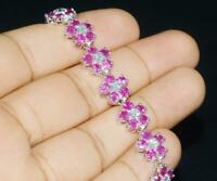 "Pink Sapphire & Diamond 14k White Gold Over Floral Chain Link Tennis 7"" Bracelet"