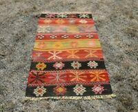 Southwestern Style Anatolian Wool Carpet Turkish Traditional Kilim Rug 2x3 ft